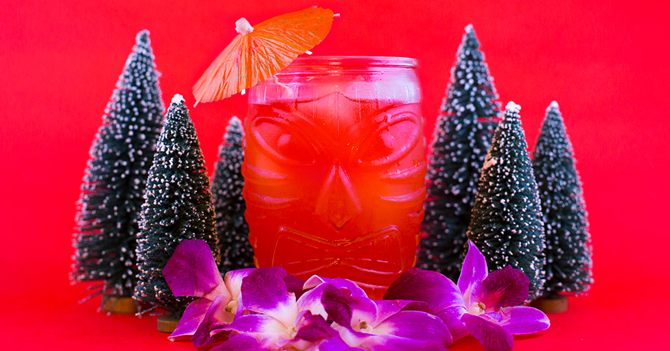 Holiday Tiki Cocktail with Bottle Brush Trees
