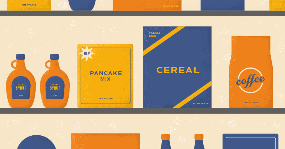 illustration of consumer packaged goods on shelf, pancake mix, cereal, coffee